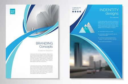 Template vector design for Brochure, AnnualReport, Magazine, Poster, Corporate Presentation, Portfolio, Flyer, infographic, layout modern with blue color size A4, Front and back, Easy to use and edit. Stock Illustratie