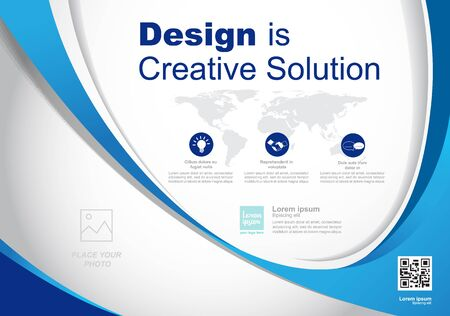 Template vector design for Brochure, Annual Report, Web design  Poster, Corporate Presentation, Flyer, layout modern with blue color size horizontal, Easy to use and edit. Stock Illustratie
