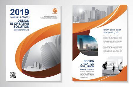 Modello di disegno vettoriale per brochure, report annuale, rivista, poster, presentazione aziendale, portfolio, flyer, infografica, layout moderno con colore arancione formato A4, fronte e retro, facile da usare.