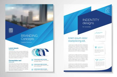 Disegno vettoriale modello per brochure, relazione annuale, rivista, poster, presentazione aziendale, portfolio, flyer, infografica, layout moderno con colore blu formato A4, fronte e retro, facile da usare e modificare. Vettoriali