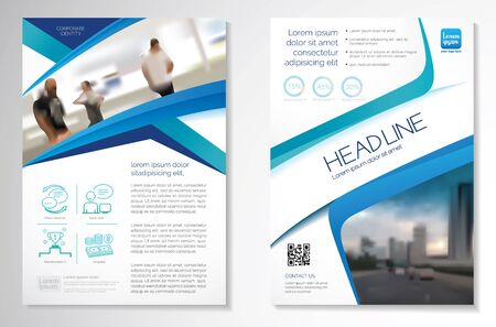 Template vector design for Brochure, AnnualReport, Magazine, Poster, Corporate Presentation, Portfolio, Flyer, infographic, layout modern with blue color size A4, Front and back, Easy to use and edit. Ilustrace