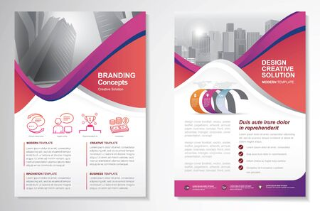 Template vector design for Brochure, AnnualReport, Magazine, Poster, Corporate Presentation, Portfolio, Flyer, infographic, layout modern with colorful size A4, Front and back, Easy to use and edit. Ilustrace