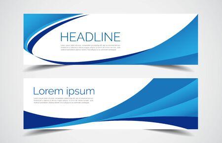 Set of modern design - Vector web banners design background or header templates, blue color, horizontal advertising business banner.