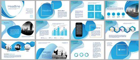 Vorlagen für Geschäftspräsentationen. Elementdesign für Folieninfografik auf Hintergrund für Broschüre, Geschäftsbericht, Poster, Unternehmenspräsentation, Portfolio, Flyer, Marketing, Werbung, blaue Farbe.