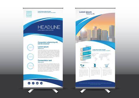 Illustrazione vettoriale del modello RollUp, progettato per lo stile applicato all'expo. Banner pubblicitari, modello di business verticale.