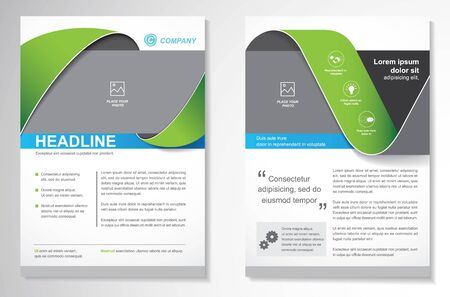 Template vector design for Brochure, AnnualReport, Magazine, Poster, Corporate Presentation, Portfolio, Flyer, infographic, layout modern with size A4, Front and back, Easy to use and edit. Ilustração