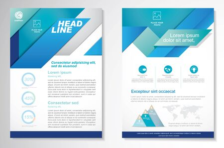 Vector Brochure Flyer design Layout template, size A4, Front page and back page, infographics. Easy to use and edit. Ilustración de vector