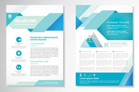 Vector Brochure Flyer design Layout template, size A4, Front page and back page, infographics. Easy to use and edit. Vector Illustration