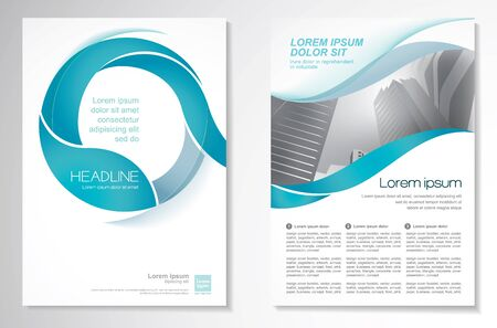 Template vector design for Brochure, Annual Report, Magazine, Poster, Corporate Presentation, Portfolio, Flyer, infographic, layout modern with blue color size A4, Front and back, Easy to use and edit.