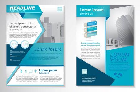 Modello di disegno vettoriale per Brochure, Relazione annuale, Rivista, Poster, Presentazione aziendale, Portafoglio, Volantino, infografica, layout moderno con colore blu formato A4, fronte e retro, facile da usare e modificare.