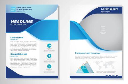 Modèle de conception vectorielle pour brochure, rapport annuel, magazine, affiche, présentation d'entreprise, portfolio, flyer, infographie, mise en page moderne avec couleur bleue taille A4, recto et verso, facile à utiliser et à modifier.