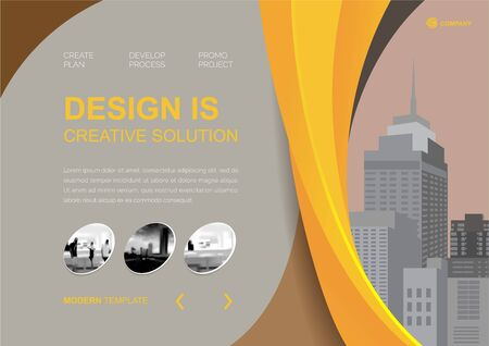 Template vector design for Brochure, Annual Report, Web design  Poster, Corporate Presentation, Flyer, layout modern with yellow color size horizontal, Easy to use and edit.