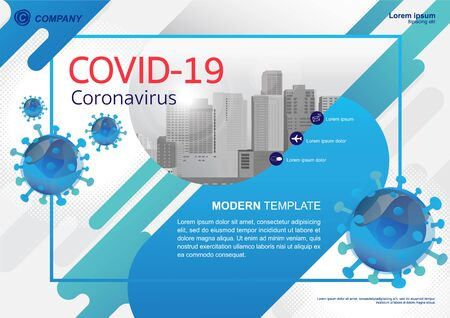 Template vector design for Brochure, Annual Report, Web design  Poster, Corporate Presentation, Flyer, layout modern with blue color size horizontal, Easy to use and edit. Ilustração