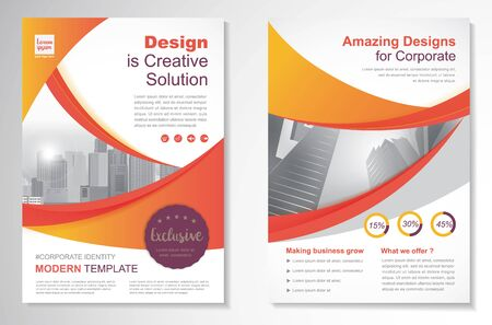Template vector design for Brochure, Annual Report, Magazine, Poster, Corporate Presentation, Portfolio, Flyer, layout modern with Orange color size A4, Front and back, Easy to use and edit.