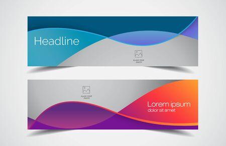 Set of modern design - Vector web banners design background or header templates, horizontal advertising business banner.