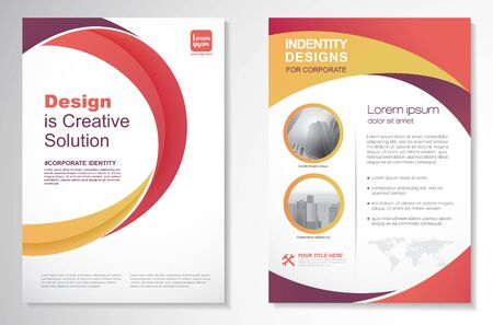 Template vector design for Brochure, Annual Report, Magazine, Poster, Corporate Presentation, Portfolio, Flyer, layout modern with Orange color size A4, Front and back, Easy to use and edit. Vettoriali
