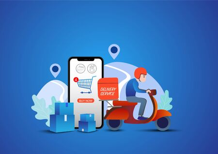 Shopping Online on Website or Mobile Application Vector Concept Marketing and Digital.Online delivery service concept.
