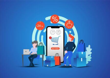 Shopping Online on Website or Mobile Application Vector Concept Marketing and Digital.Sale Discount background for the online store Ilustração