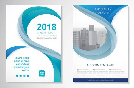 Template vector design for Brochure, AnnualReport, Magazine, Poster, Corporate Presentation, Portfolio, Flyer, infographic, layout modern with blue color size A4, Front and back, Easy to use and edit. Imagens - 147801006