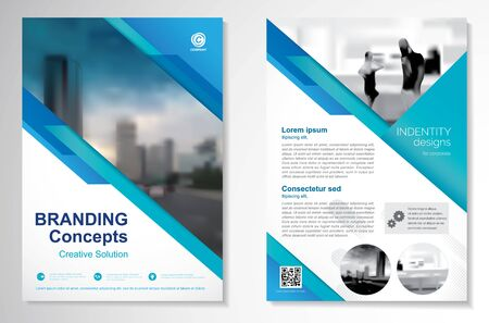 Template vector design for Brochure, AnnualReport, Magazine, Poster, Corporate Presentation, Portfolio, Flyer, infographic, layout modern with blue color size A4, Front and back, Easy to use and edit. Ilustração