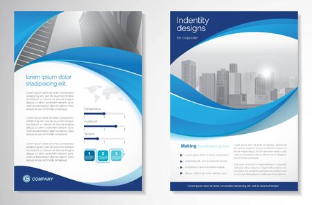 Template vector design for Brochure, AnnualReport, Magazine, Poster, Corporate Presentation, Portfolio, Flyer, infographic, layout modern with blue color size A4, Front and back, Easy to use and edit. Imagens - 149376079
