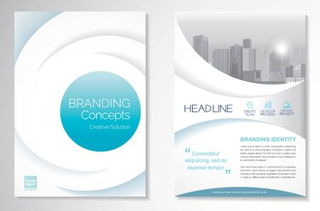 Template vector design for Brochure, AnnualReport, Magazine, Poster, Corporate Presentation, Portfolio, Flyer, infographic, layout modern with blue color size A4, Front and back, Easy to use and edit. Vectores