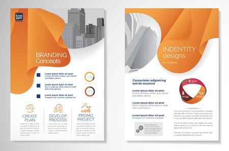 Template design for Brochure, Annual Report, Magazine, Poster, Corporate Presentation, Portfolio, Flyer, infographic, layout modern size A4, Front and back, Easy to use and edit.