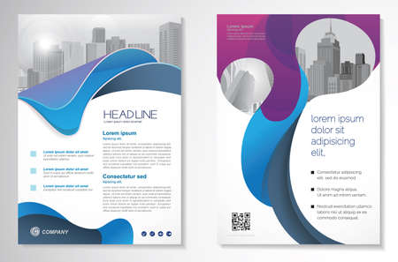 Template design for Brochure, Annual Report, Magazine, Poster, Corporate Presentation, Portfolio, Flyer, infographic, layout modern with blue color size A4, Front and back, Easy to use and edit. Illusztráció