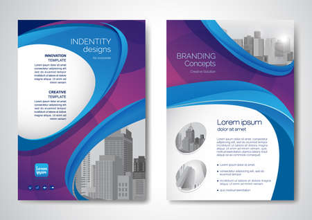 Template vector design for Brochure, AnnualReport, Magazine, Poster, Corporate Presentation, Portfolio, Flyer, infographic, layout modern with blue color size A4, Front and back, Easy to use and edit. Illusztráció