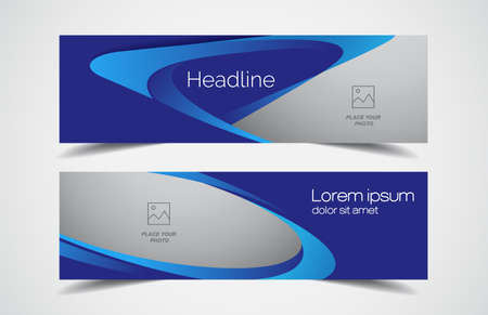 Set of modern design - Vector web banners design background or header templates, horizontal advertising business banner. Vettoriali