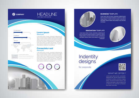 Template vector design for Brochure, AnnualReport, Magazine, Poster, Corporate Presentation, Portfolio, Flyer, infographic, layout modern size A4, Front and back, Easy to use and edit. Ilustración de vector