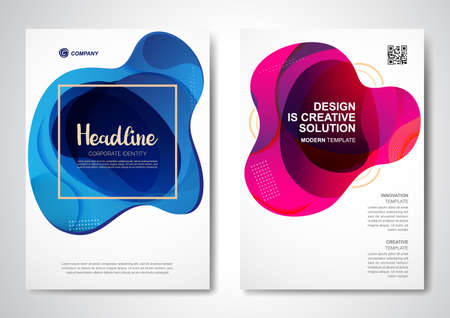 Template vector design for Brochure, AnnualReport, Magazine, Poster, Corporate Presentation, Portfolio, Flyer, infographic, layout modern with color size A4, Front and back, Easy to use and edit.  イラスト・ベクター素材