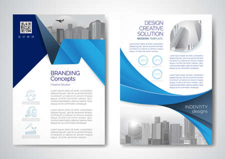 Template vector design for Brochure, AnnualReport, Magazine, Poster, Corporate Presentation, Portfolio, Flyer, infographic, layout modern with blue color size A4, Front and back, Easy to use and edit.  イラスト・ベクター素材