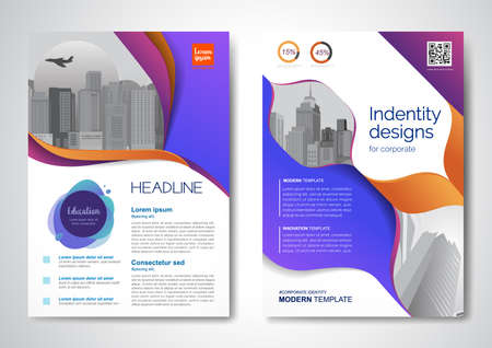 Template vector design for Brochure, AnnualReport, Magazine, Poster, Corporate Presentation, Portfolio, Flyer, infographic, layout modern with colorful size A4, Front and back, Easy to use.  イラスト・ベクター素材