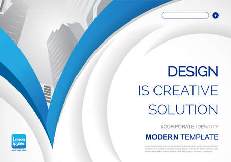 Template vector design for Brochure, Annual Report, Web design Poster, Corporate Presentation, Flyer, layout modern with blue color size horizontal, Easy to use and edit. 向量圖像