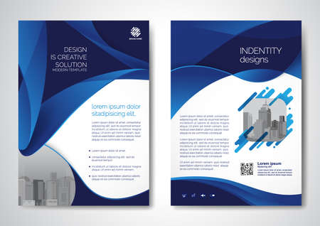 Template vector design for Brochure, AnnualReport, Magazine, Poster, Corporate Presentation, Portfolio, Flyer, infographic, layout modern with blue color size A4, Front and back, Easy to use and edit. 向量圖像