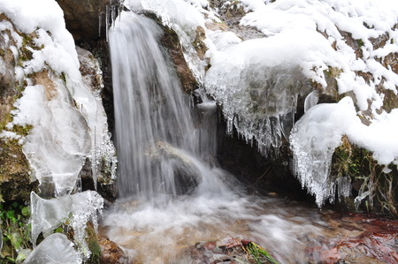 Frozen waterfall, Cascade in winter, Frozen fall,