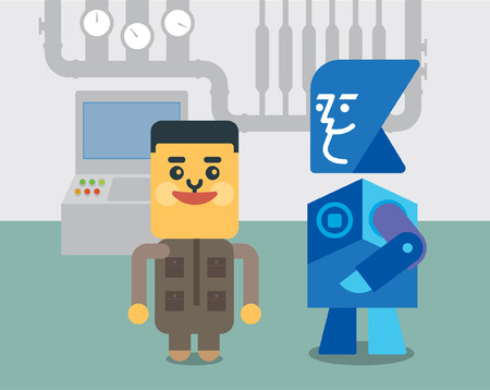 talking robot: man and robot