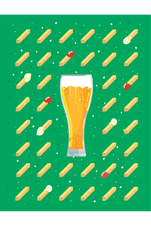 dipping: Beer and chips Illustration