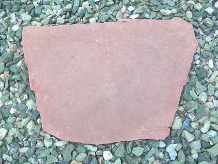 flagstone: flagstone with green rock Stock Photo