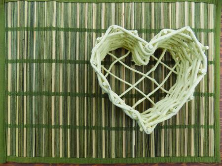 White wicker heart photo