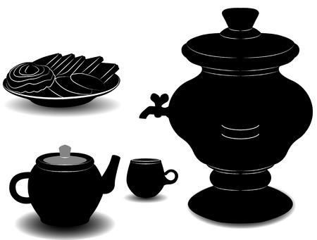 samovar: The tea party. The samovar, a Cup, a teapot and a plate of cookies