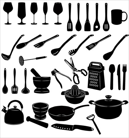grater: Silhouettes of kitchen accessories on white background Illustration