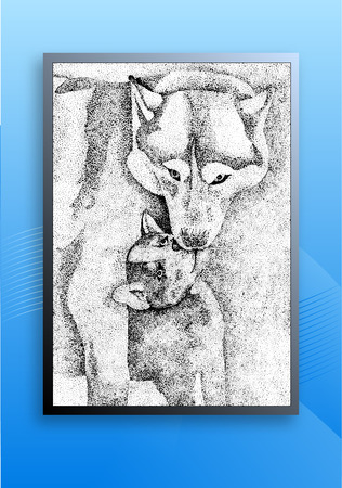 sledge dog: Figure wolf hand-drawn abstract background