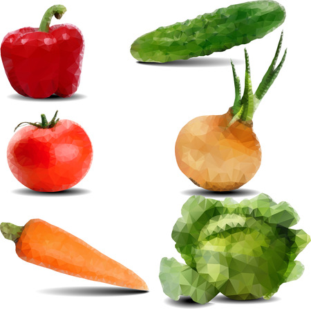 two dimensional: Vegetables drawn in the polygonal style. 6 pieces