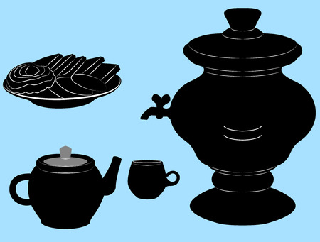samovar: The samovar, a Cup, a teapot and a plate of cookies Stock Photo