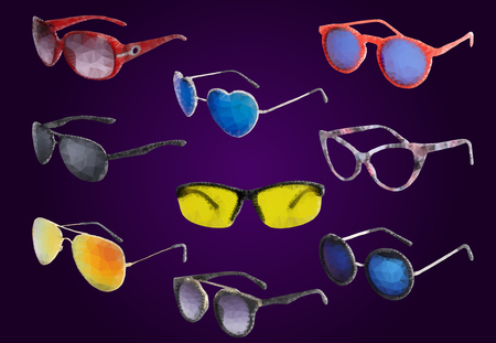 oldfield: Sunglasses drawn in a polygon style. 9 pieces