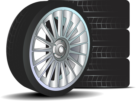 car tire: Car wheel with tire isolated on white background Illustration