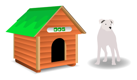 doghouse: Doghouse and dog isolated