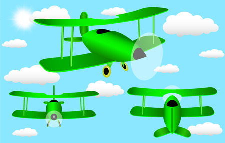sides: Cartoon plane with three sides in the sky with clouds Illustration